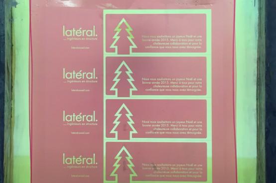 Les cartes de Noël 2014 de Latéral en sérigraphie