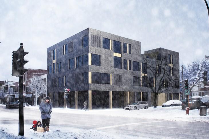 Condos dans le quartier Villeray à Montréal. Structure en bois apparente. LEED Platinum condos in Montreal with exposed wood structure.