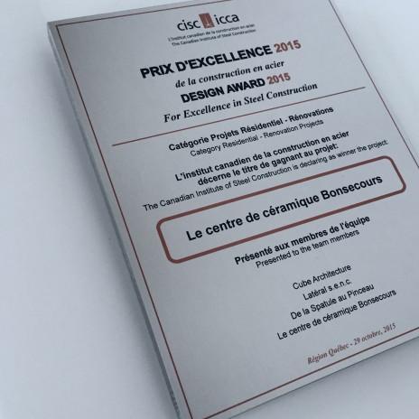 Lateral receives a prize at the CISC design awards 2015. Latéral lauréat du prix d'excellence de la construction en acier, ICCA 2015.