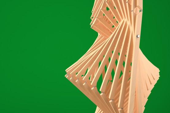 Conception paramétrique d'une structure auto-portante en bois avec le logiciel Rhino et Grasshopper. Parametric design of a self-supporting wood structure using Rhino and Grasshopper.
