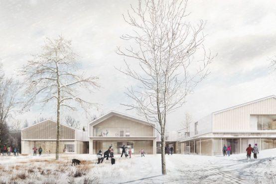 Proposition finaliste avec Chevalier Morales Architectes pour le Lab-École Saguenay. Structure hybride bois-béton.